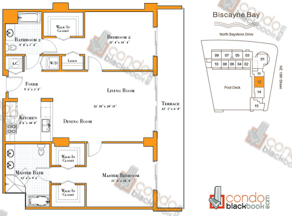 Floor plan for 1800 Club Edgewater Miami, model R-12, line 12, 2/2 bedrooms, 1,374 sq ft