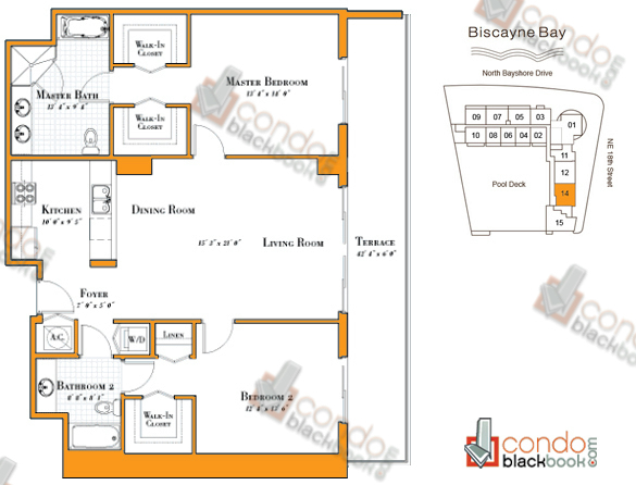 Floor plan for 1800 Club Edgewater Miami, model R-14, line 14, 2/2 bedrooms, 1,307 sq ft