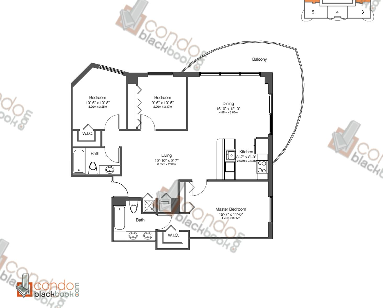 Floor plan for 23 Biscayne Edgewater Miami, model UNIT 2 & 6, line 02, 06, 3/2 bedrooms, 1,212 sq ft