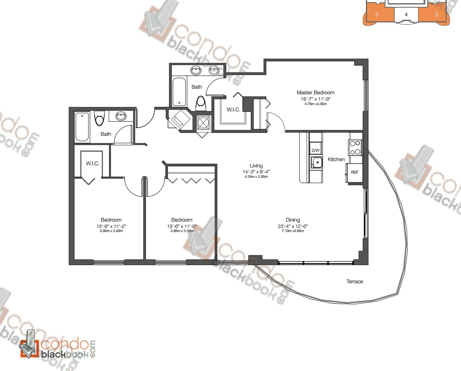 Floor plan for 23 Biscayne Edgewater Miami, model UNIT 3 & 5, line 03, 05, 3/2 bedrooms, 1,403 sq ft