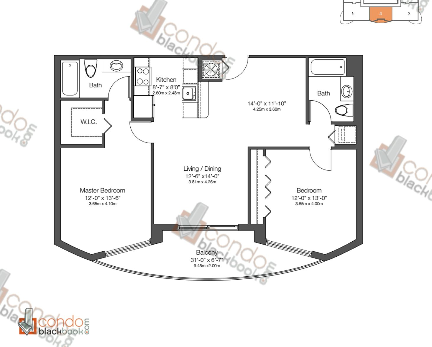 Floor plan for 23 Biscayne Edgewater Miami, model UNIT 4, line 4, 2/2 bedrooms, 1,028 sq ft
