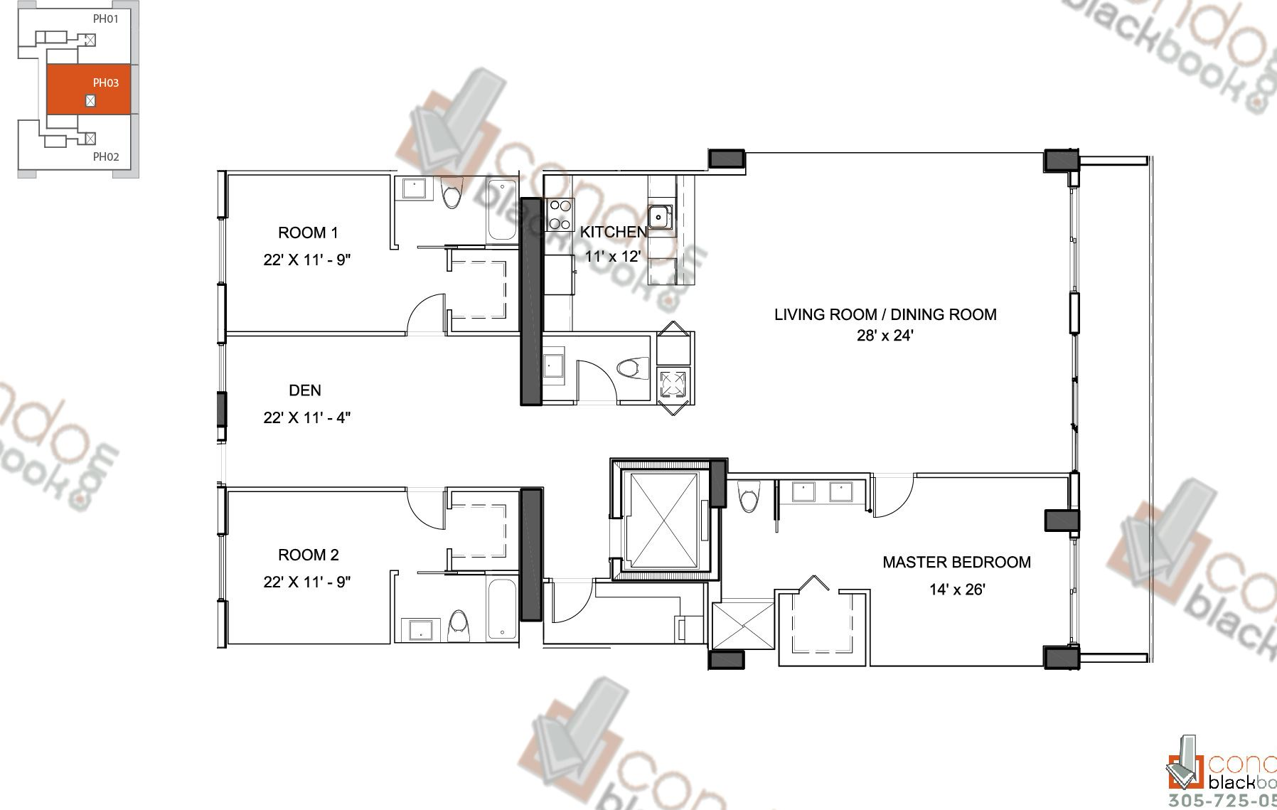 Bay house unit lph03 condo for sale in edgewater miami for Edgewater house plan