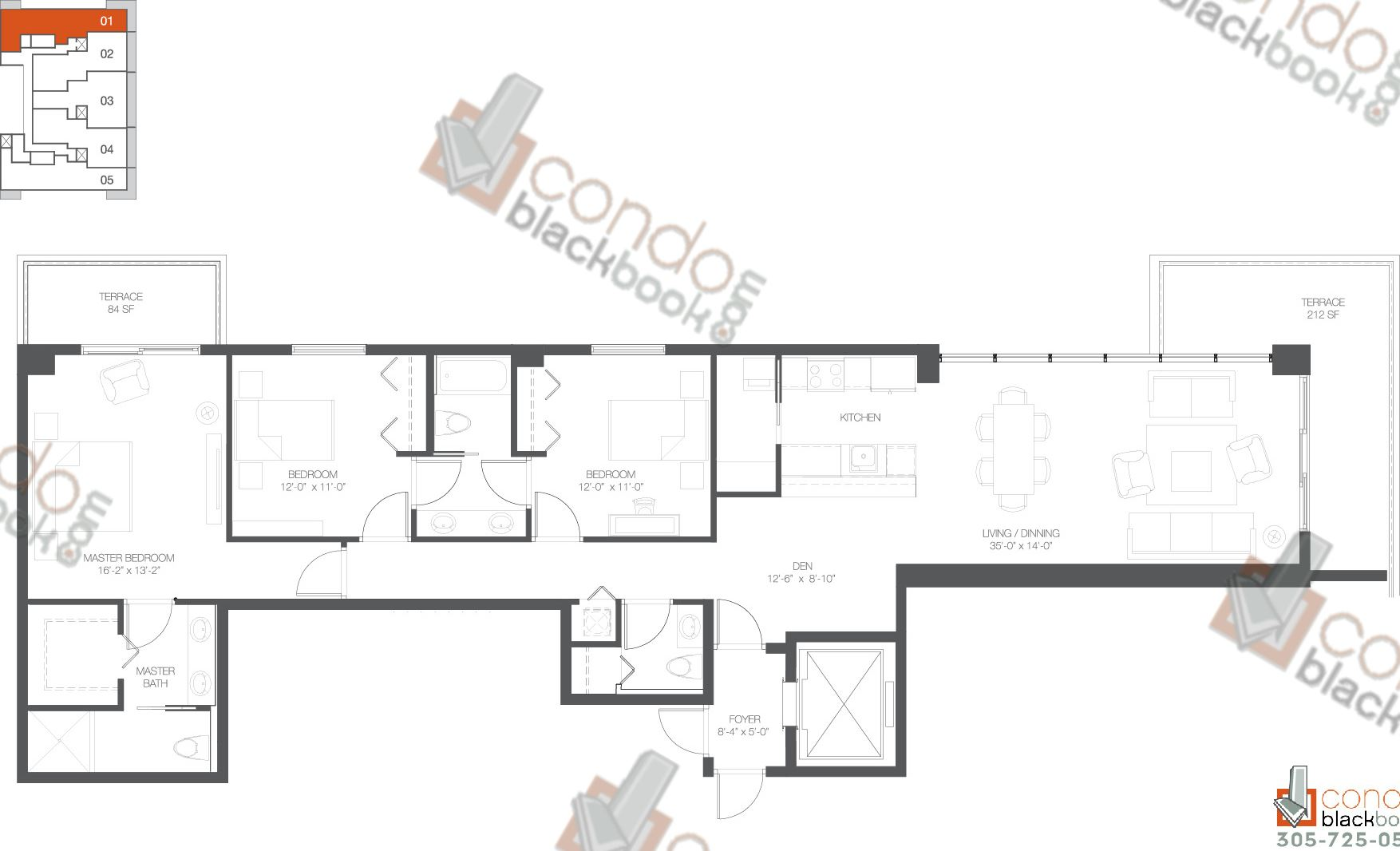 Floor plan for Bay House Edgewater Miami, model Residence 01, line 01, 3+Den/2,5 bedrooms, 2,021 sq ft