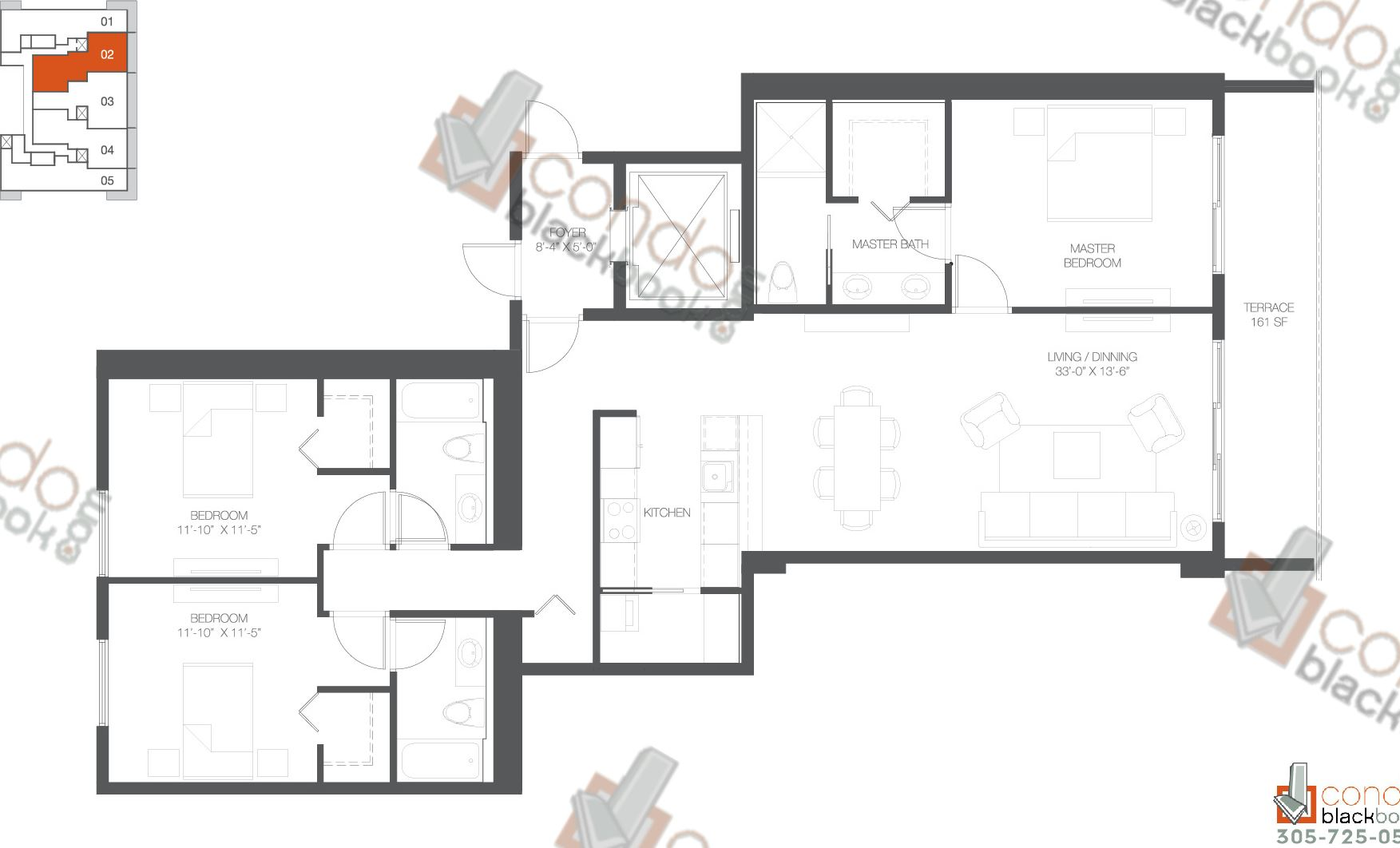 Floor plan for Bay House Edgewater Miami, model Residence 02, line 02, 3/3 bedrooms, 1,762 sq ft