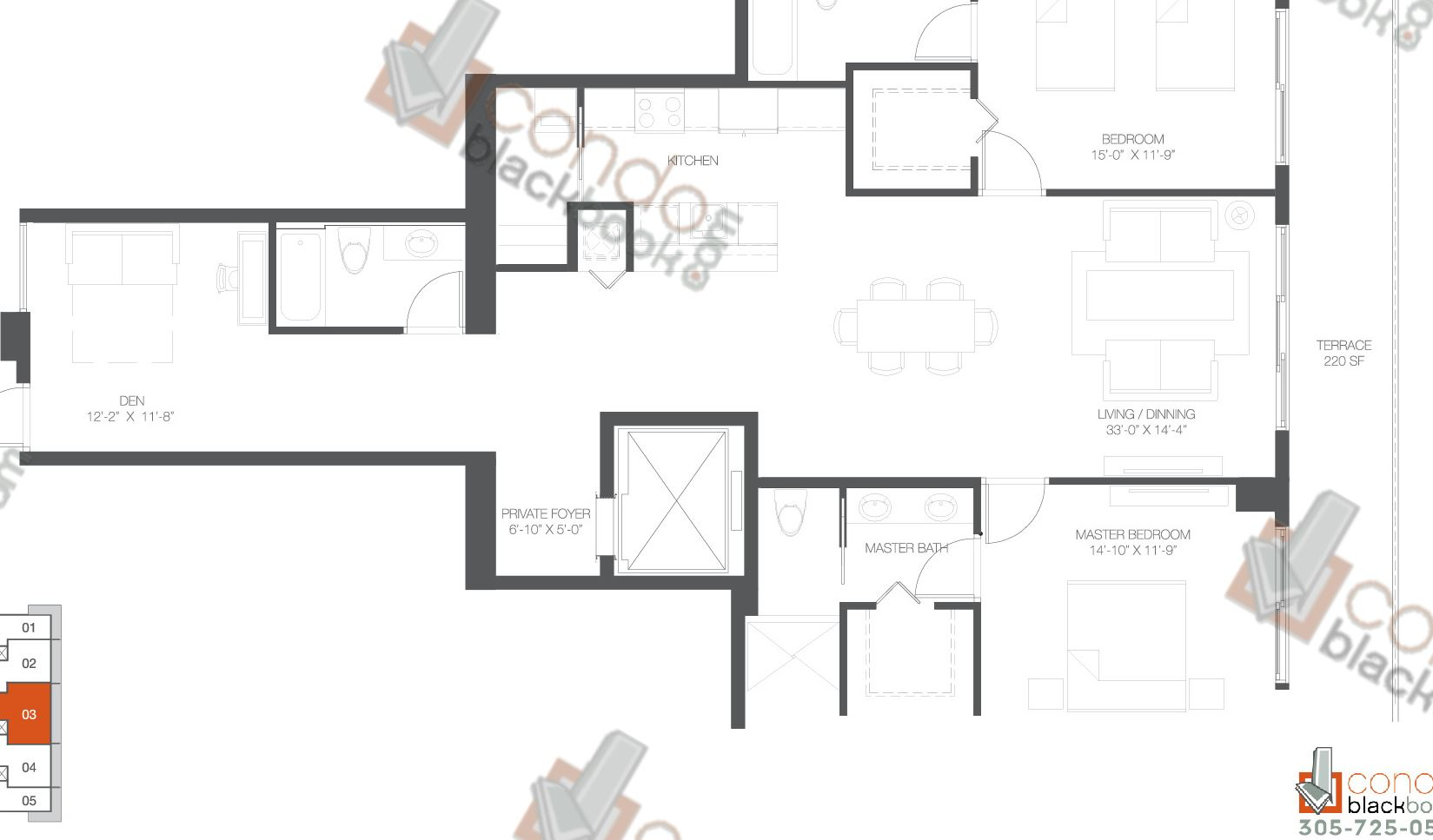Floor plan for Bay House Edgewater Miami, model Residence 03, line 03, 2+Den/3 bedrooms, 1,866 sq ft