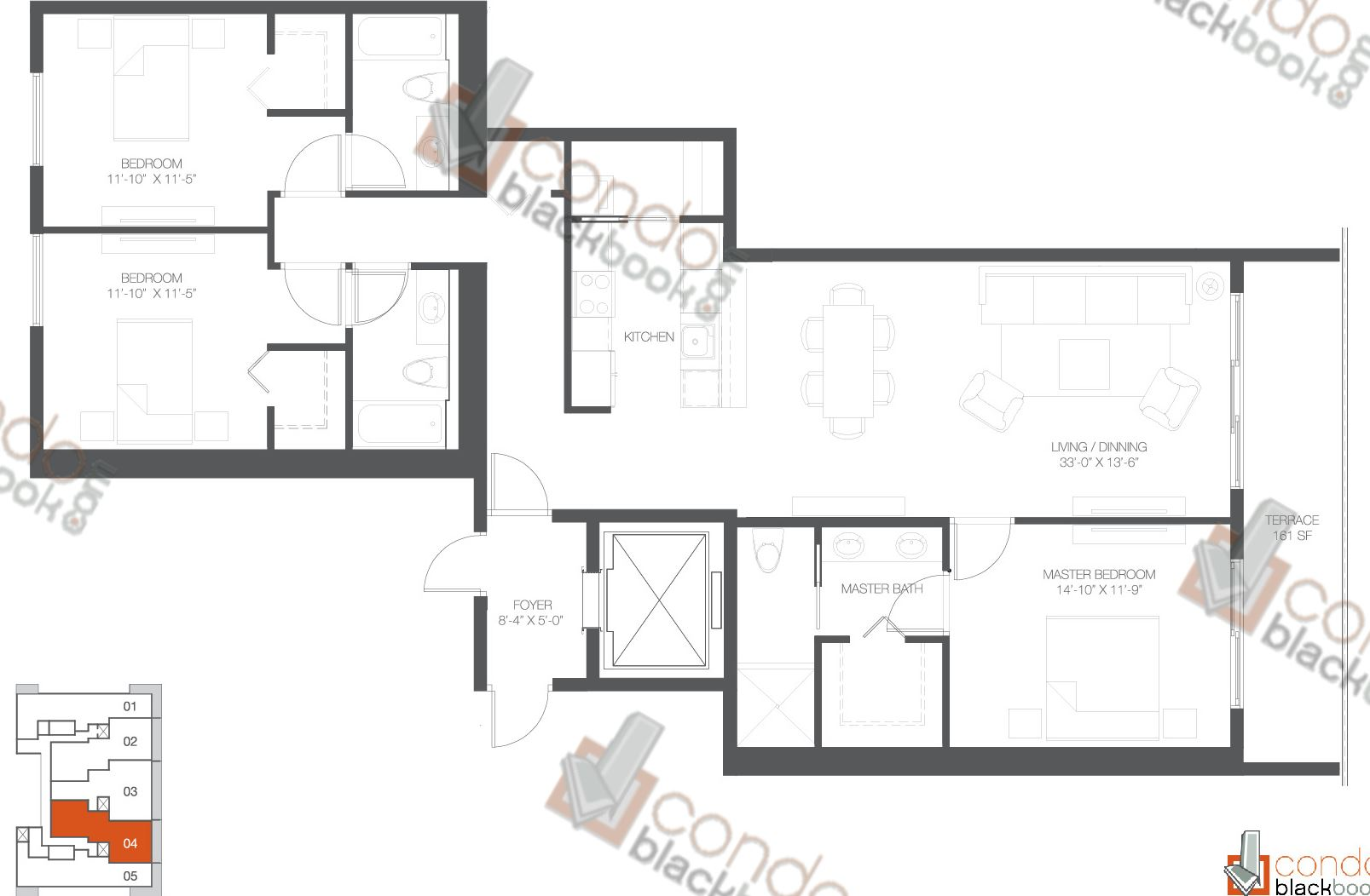 Floor plan for Bay House Edgewater Miami, model Residence 04, line 04, 3/3 bedrooms, 1,762 sq ft