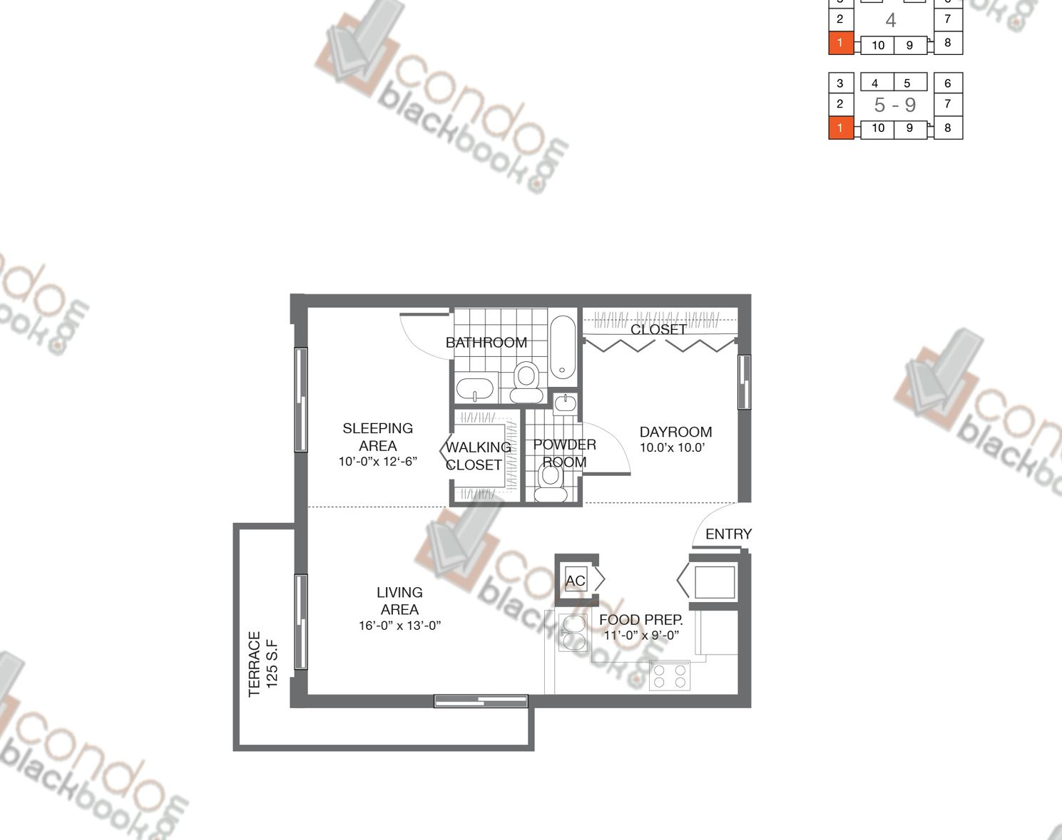 Floor plan for Bay Lofts Edgewater Miami, model Loft 1, line 01, 1/2 bedrooms, 822 sq ft
