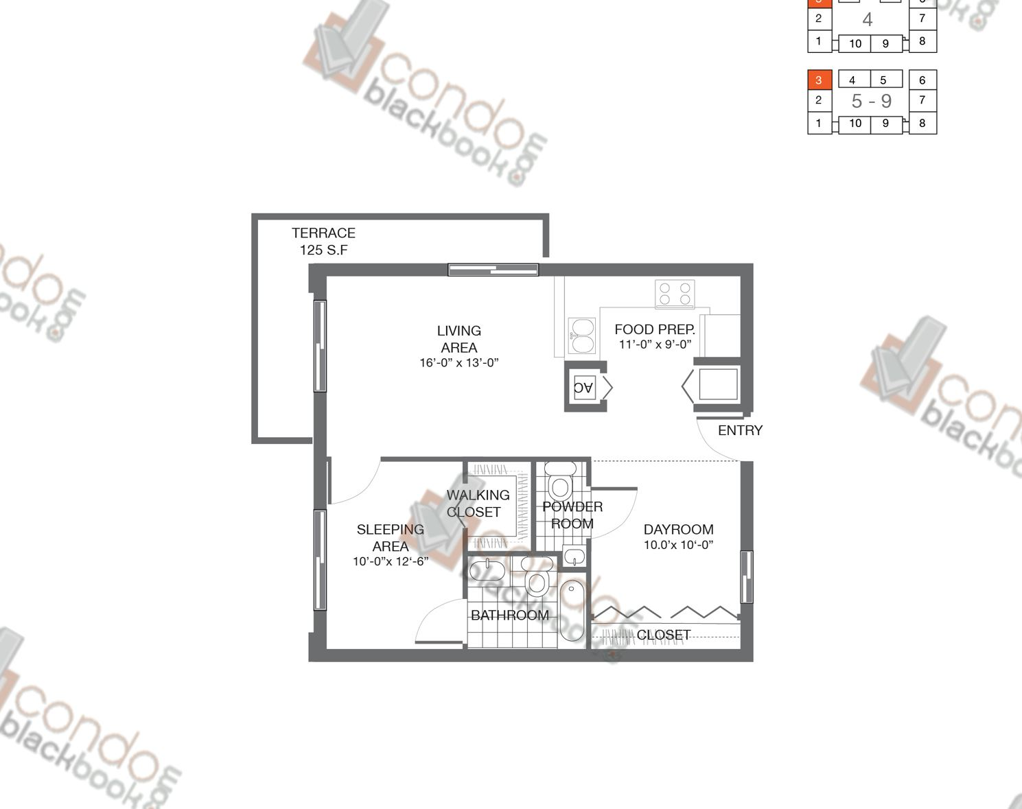 Floor plan for Bay Lofts Edgewater Miami, model Loft 3, line 03, 1/2 bedrooms, 822 sq ft