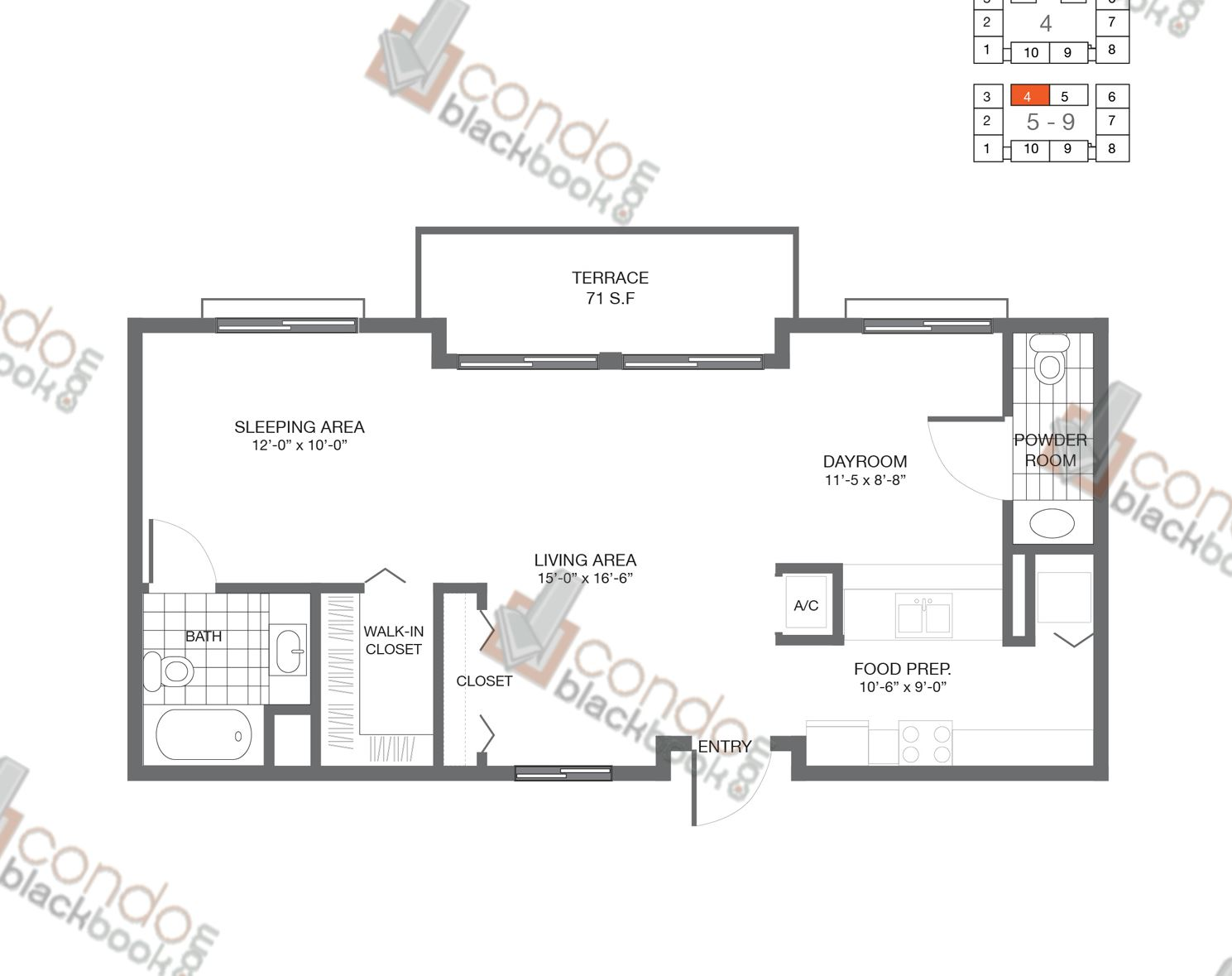 Floor plan for Bay Lofts Edgewater Miami, model Loft 4, line 04, 1/2 bedrooms, 835 sq ft