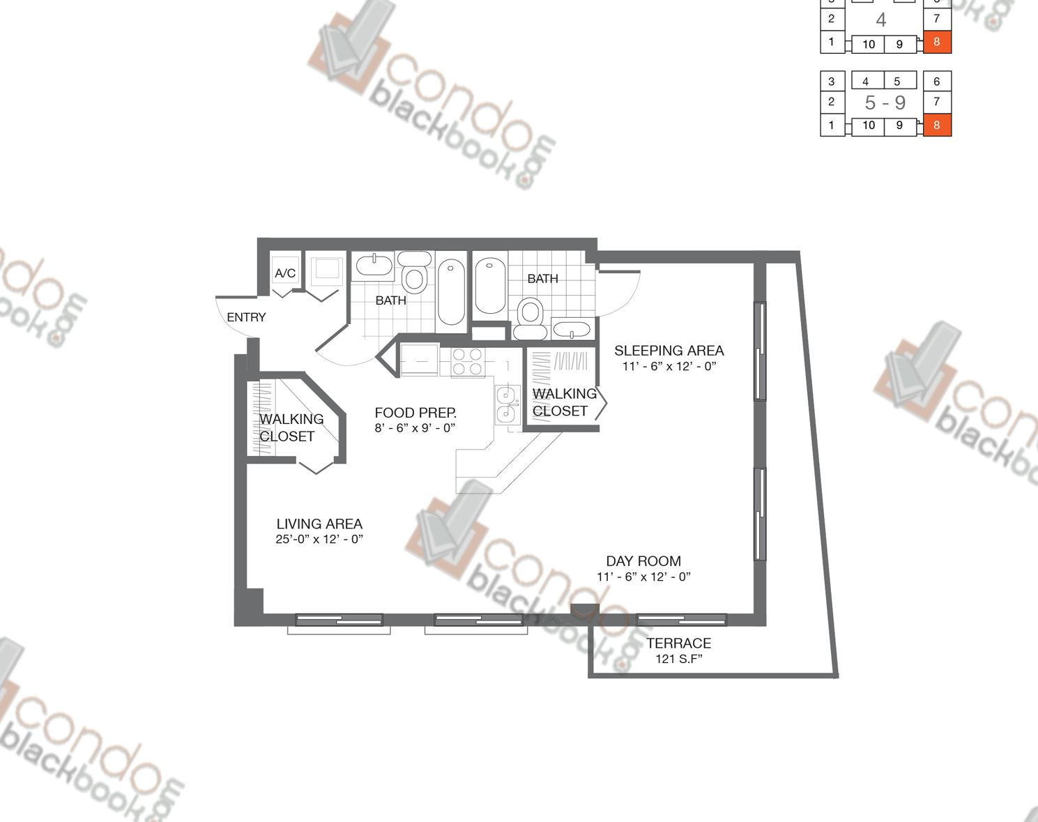 Floor plan for Bay Lofts Edgewater Miami, model Loft 8, line 08, 2/2 bedrooms, 965 sq ft