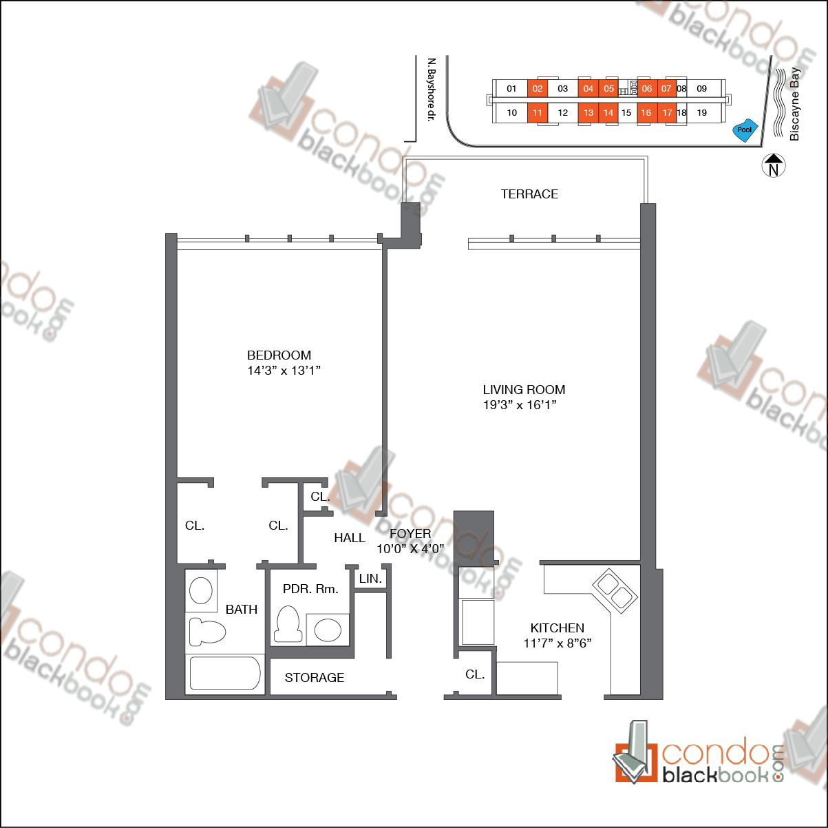Floor plan for Biscayne 21 Edgewater Miami, model Unit B, line 02, 04, 05, 06, 07, 11, 13, 14, 16, 17, 1/1.5 bedrooms, 831 sq ft