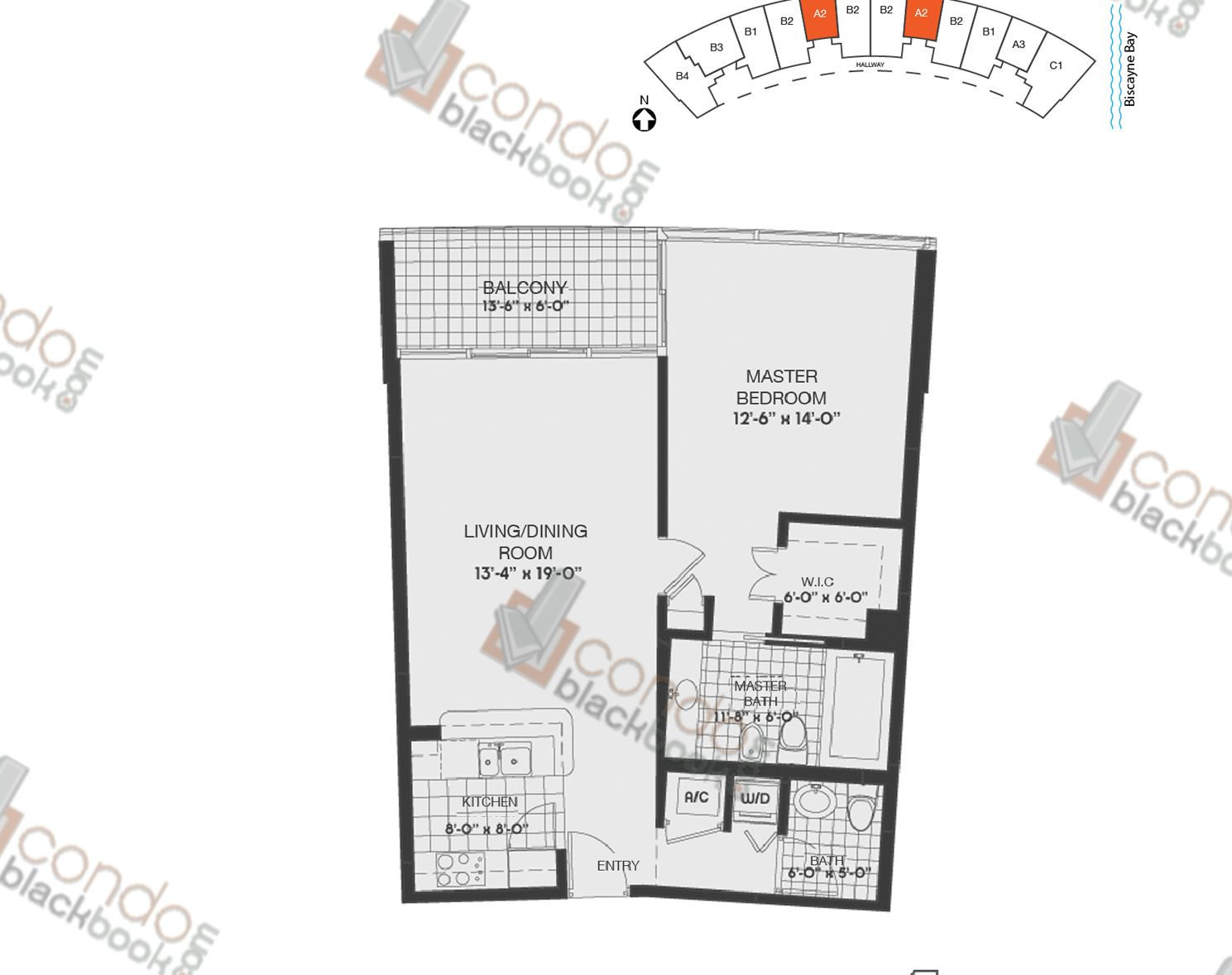 Floor plan for Blue Edgewater Miami, model A2, line 05,08, 1/1.5 bedrooms, 831 sq ft