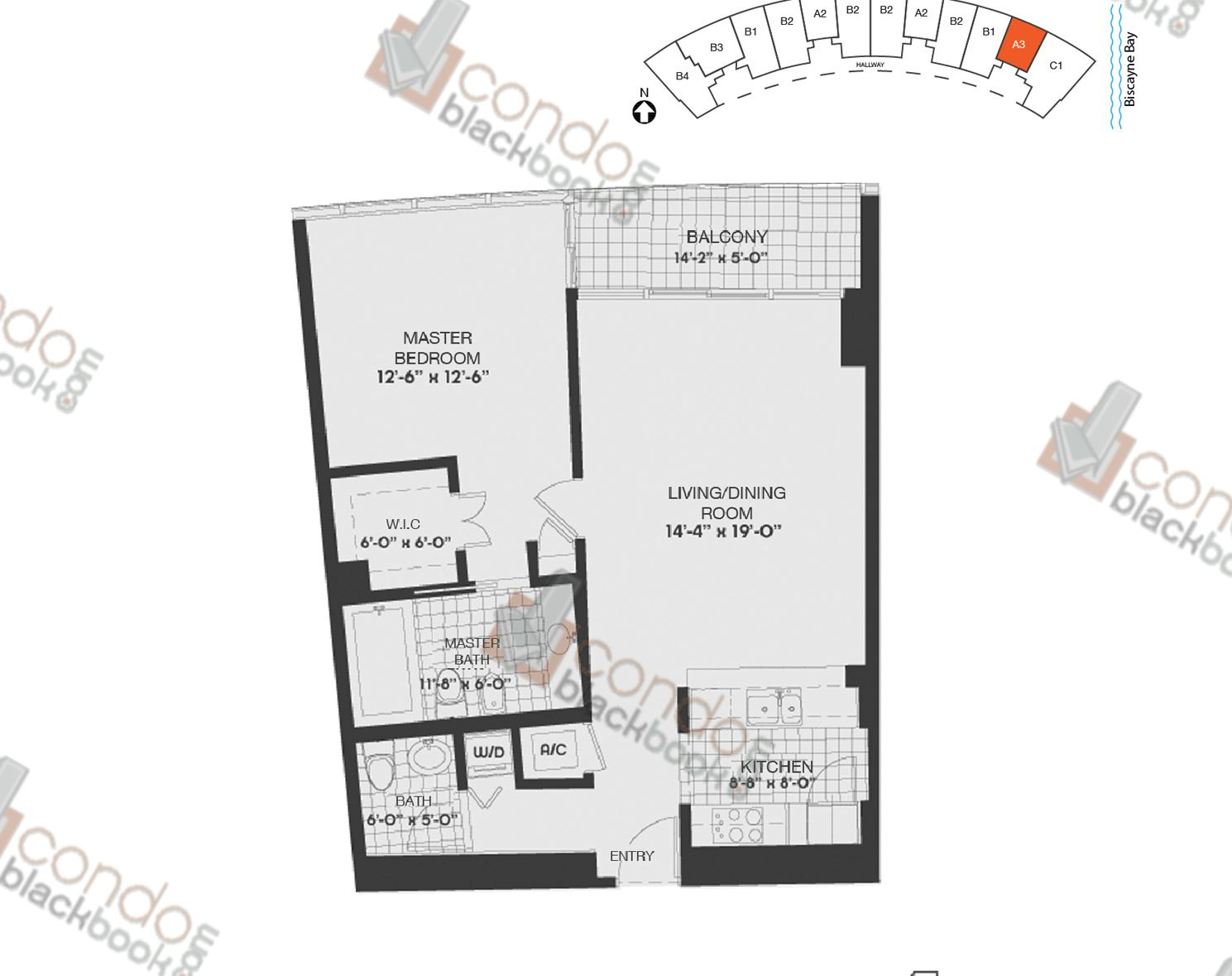 Floor plan for Blue Edgewater Miami, model A3, line 11, 1/1.5 bedrooms, 883 sq ft