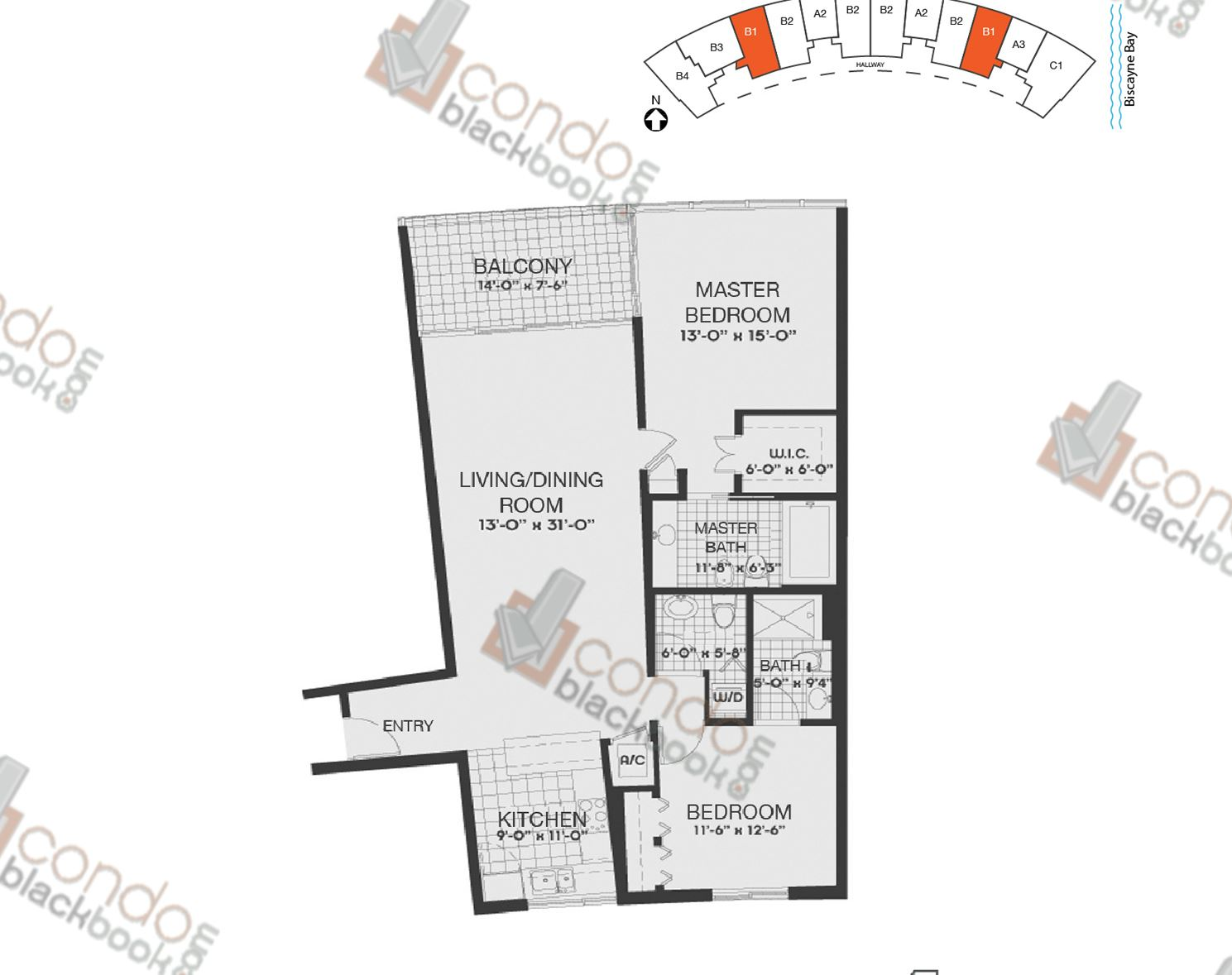 Floor plan for Blue Edgewater Miami, model B1, line 03,10, 2/2.5 bedrooms, 1362 sq ft