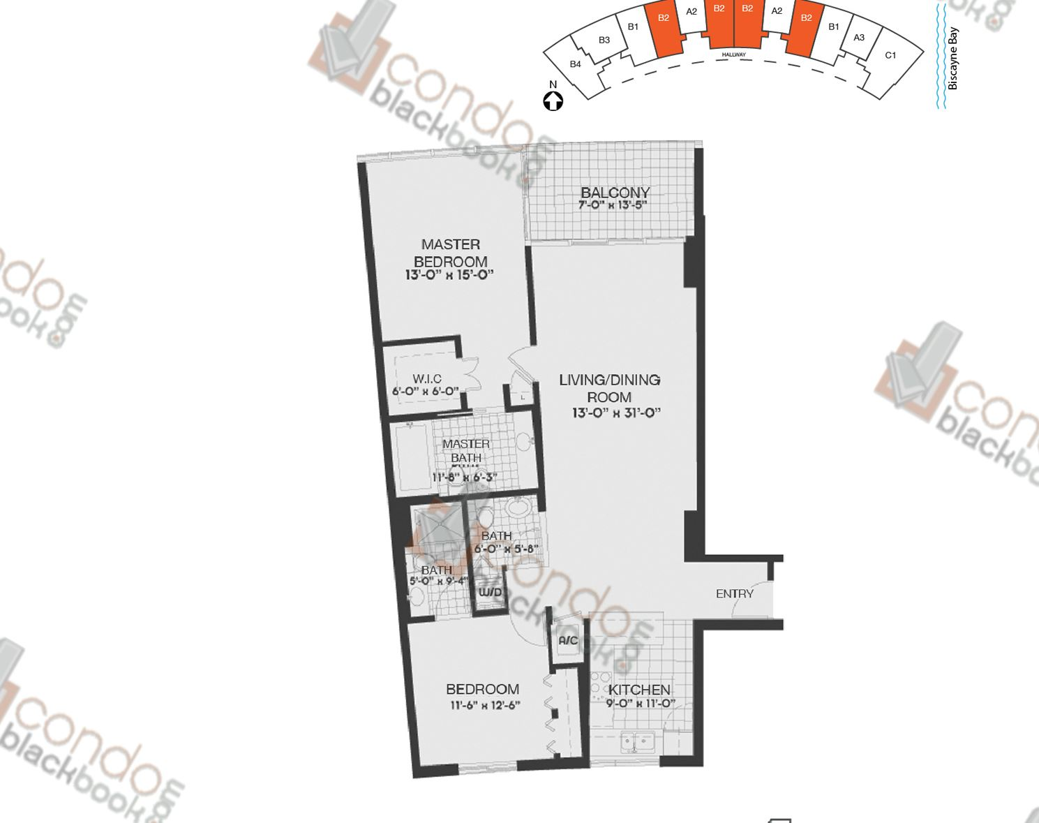 Floor plan for Blue Edgewater Miami, model B2, line 04,06,07,09, 2/2.5 bedrooms, 1319 sq ft