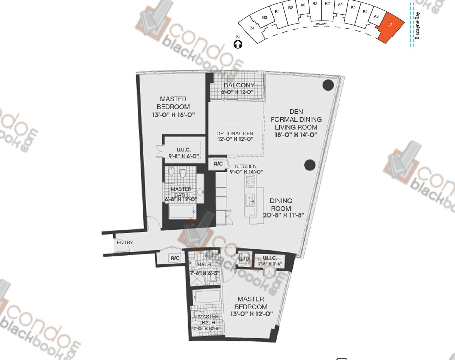 Floor plan for Blue Edgewater Miami, model C1, line 12, 2/3 bedrooms, 2084 sq ft