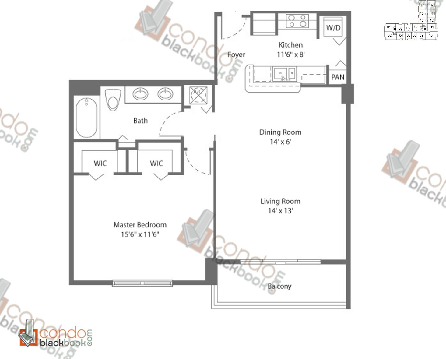 Floor plan for Cite Edgewater Miami, model A2, line 25, 1/1 bedrooms, 792 sq ft