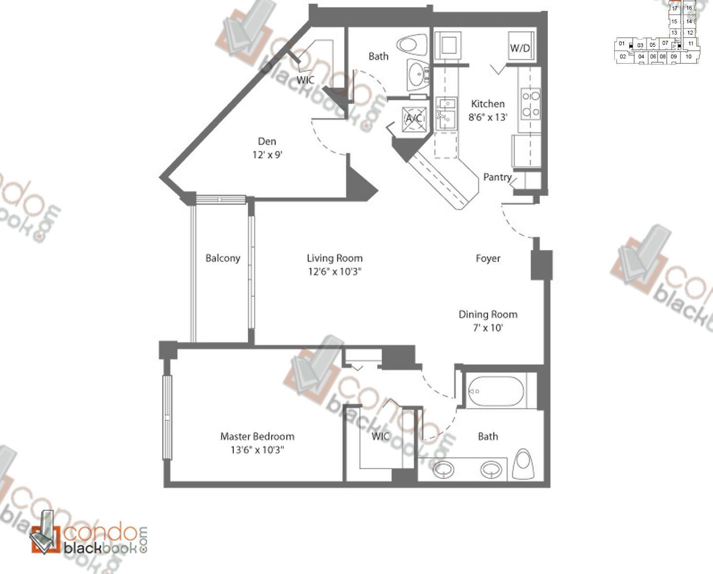 Floor plan for Cite Edgewater Miami, model A3, line 19,23, 1/1.5+DEN bedrooms, 977 sq ft