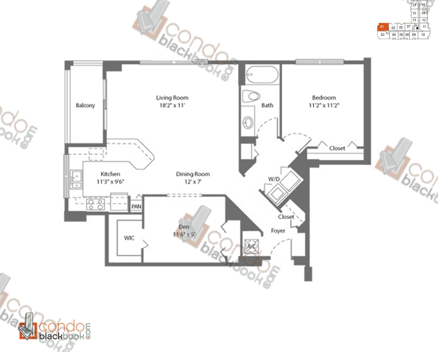 Floor plan for Cite Edgewater Miami, model A4, line 01, 1/1+DEN bedrooms, 964 sq ft