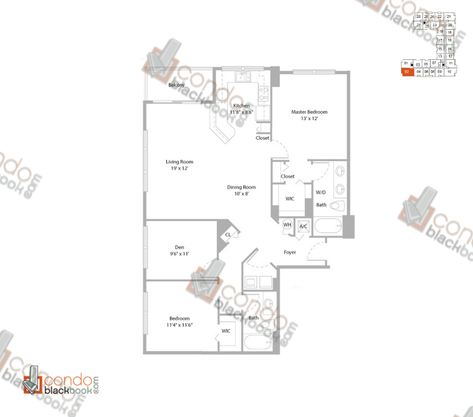 Floor plan for Cite Edgewater Miami, model B4, line 02, 2/2+DEN bedrooms, 1,332 sq ft