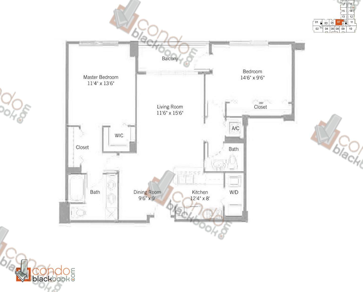 Floor plan for Cite Edgewater Miami, model B7, line 07, 2/1.5 bedrooms, 981 sq ft