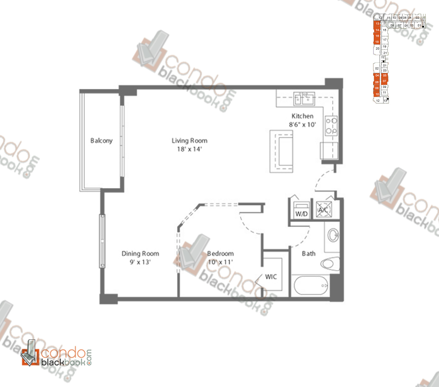 Floor plan for Cite Edgewater Miami, model F2_LOFT, line 04, 05, 06, 07, 08, 10, 1/1 bedrooms, 794 sq ft