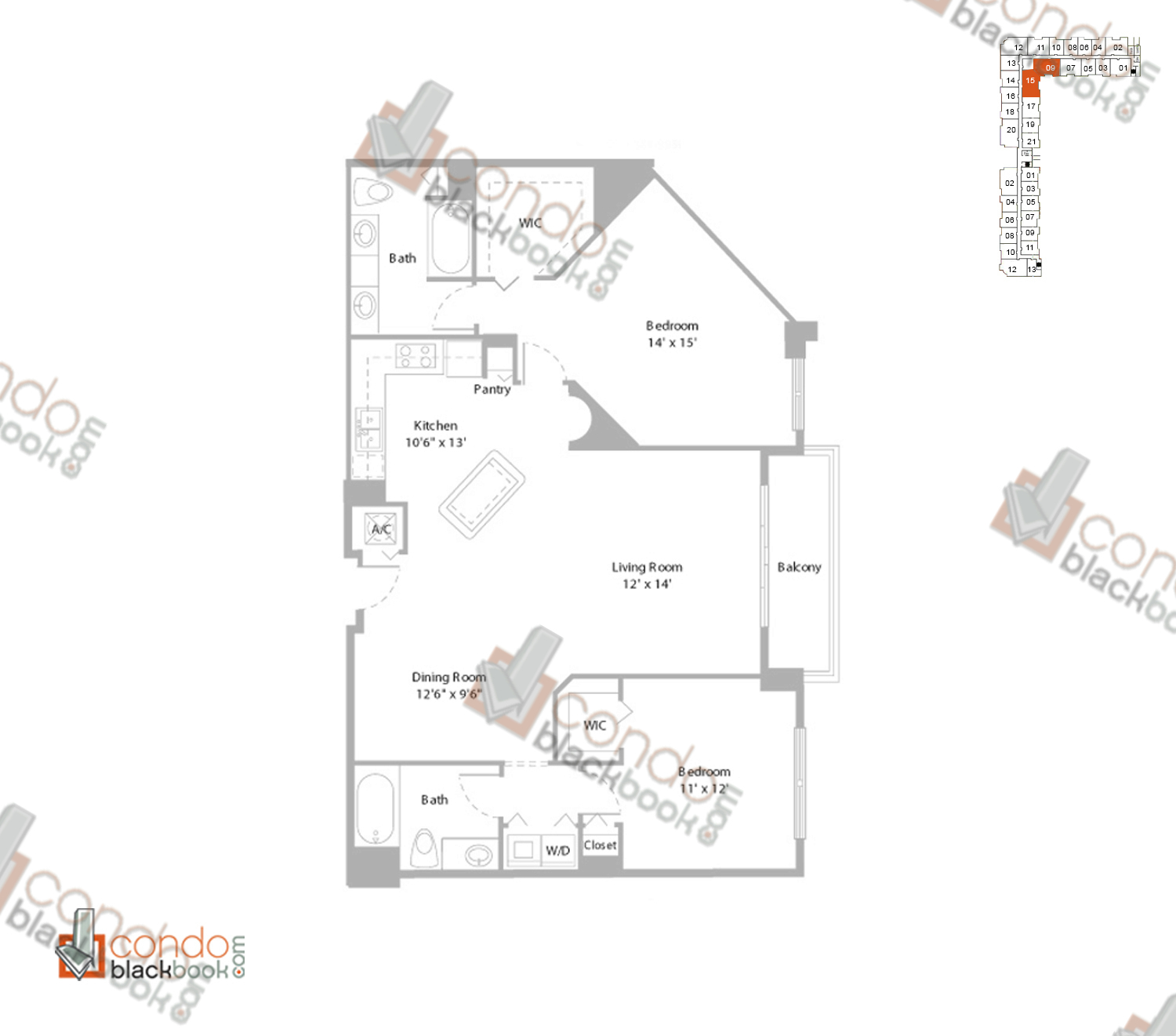 Floor plan for Cite Edgewater Miami, model G2_LOFT, line 09, 15, 2/2 bedrooms, 1,287 sq ft