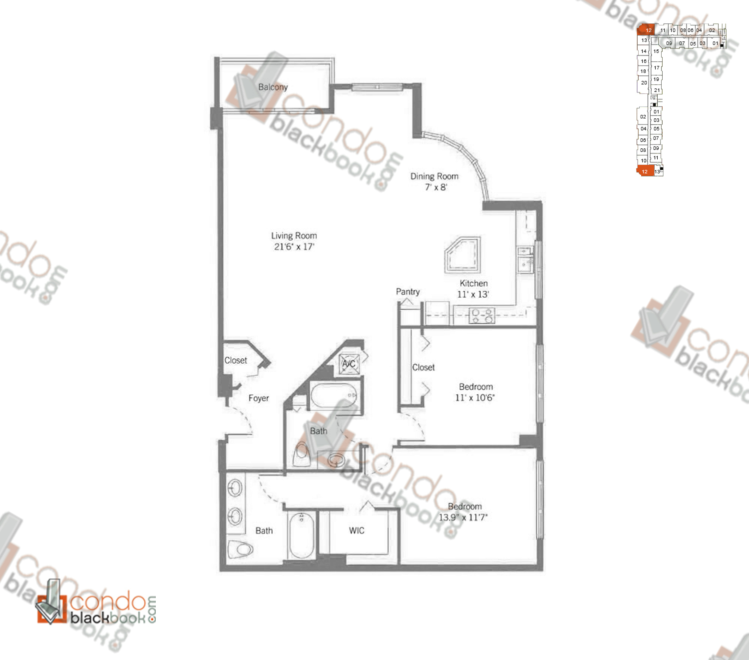 Floor plan for Cite Edgewater Miami, model H2_LOFT, line 12, 2/2 bedrooms, 1,347 sq ft