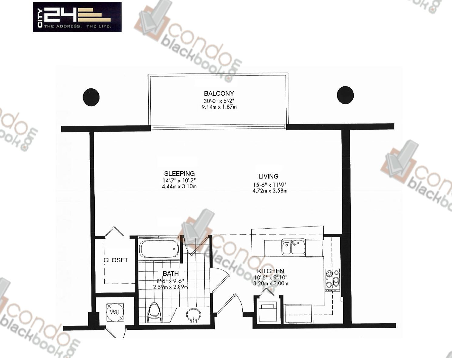 Floor plan for City 24 Edgewater Miami, model Unit A3, line 02,03,04,07,08,09, 1/1 bedrooms, 679 sq ft