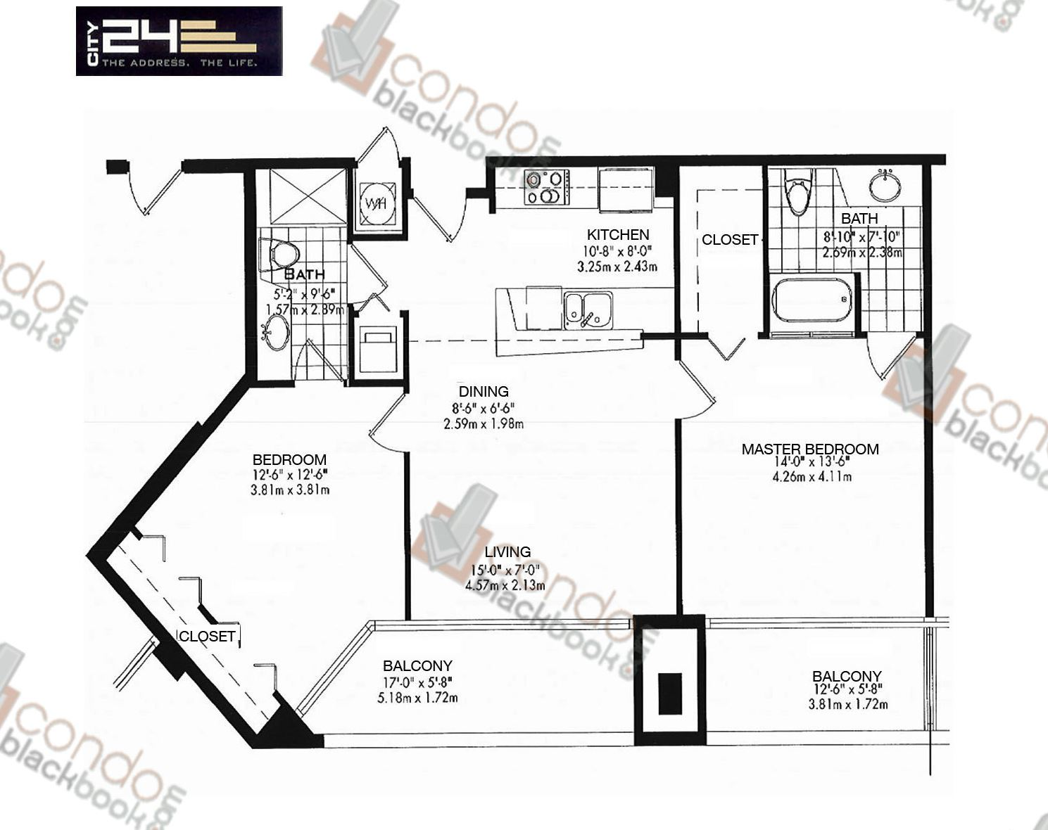 Floor plan for City 24 Edgewater Miami, model Unit B1, line 02,03, 2/2 bedrooms, 994 sq ft