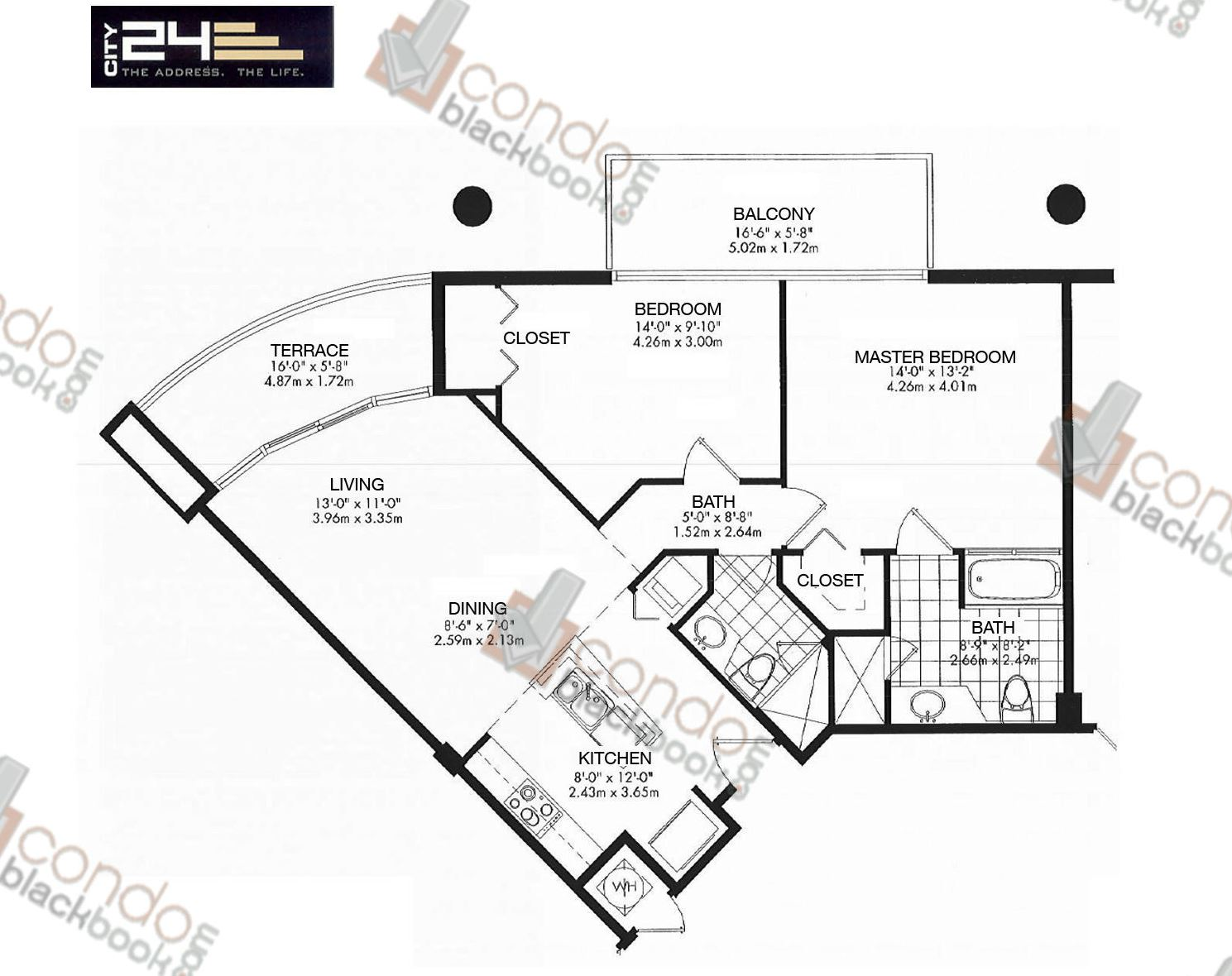 Floor plan for City 24 Edgewater Miami, model Unit B2, line 05,06,11,12,10, 2/2 bedrooms, 948 sq ft