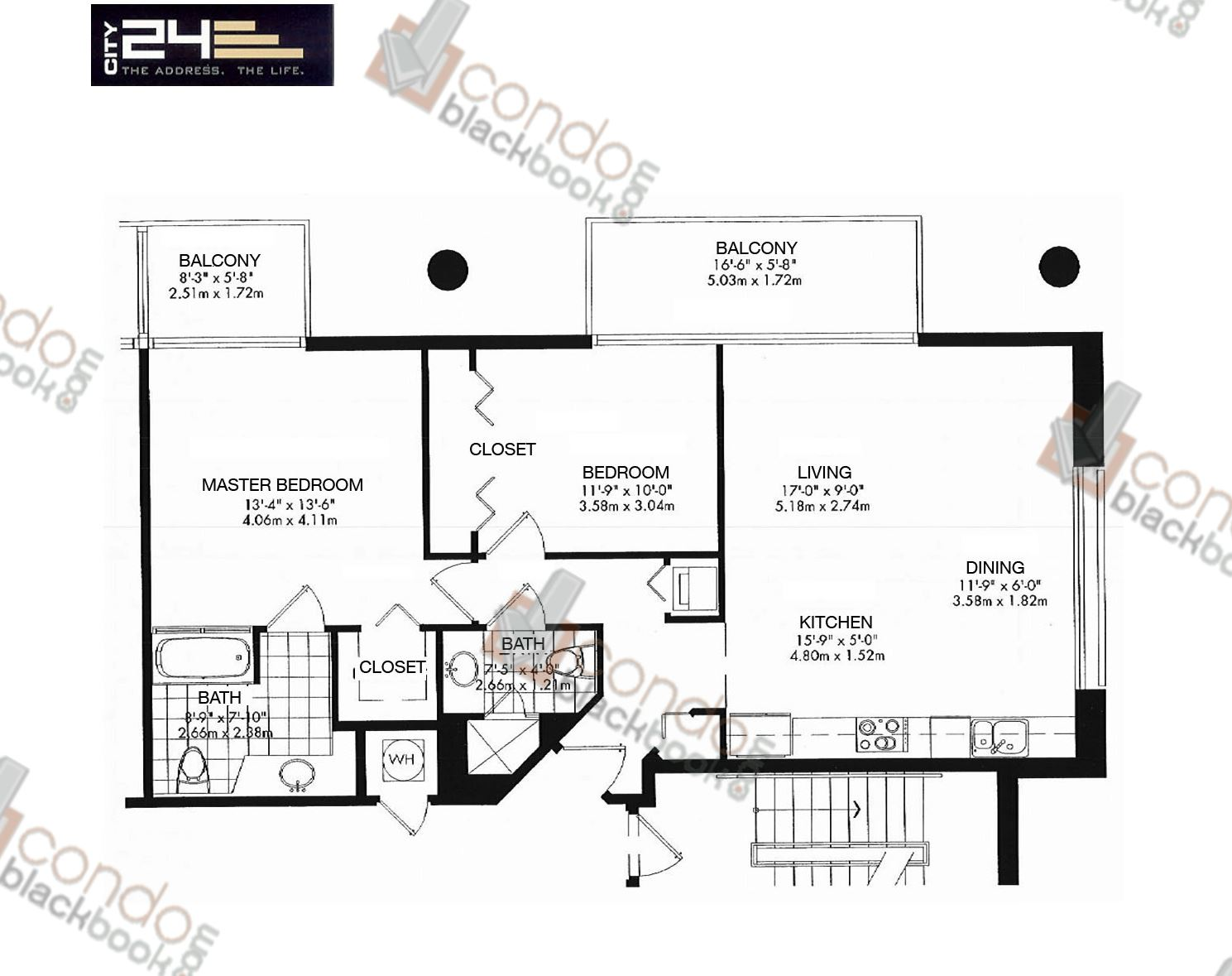 Floor plan for City 24 Edgewater Miami, model Unit B3, line 01,06,07, 2/2 bedrooms, 1,033 sq ft