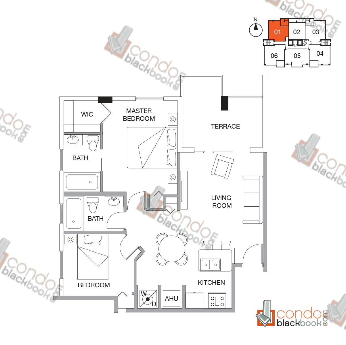 Floor plan for Emilia Edgewater  Edgewater Miami, model A, line 01,  2/2 bedrooms, 762 sq ft