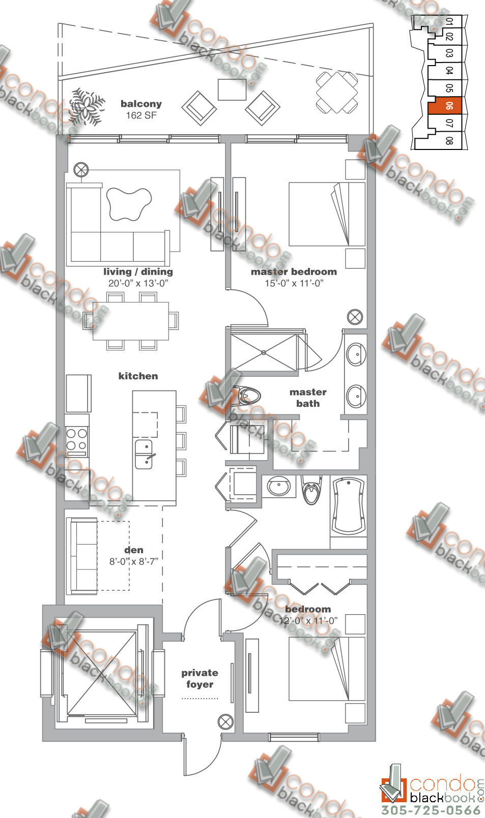 Floor plan for Icon Bay Edgewater Miami, model 06, line 06, 2/2+Den bedrooms, 1,300 sq ft