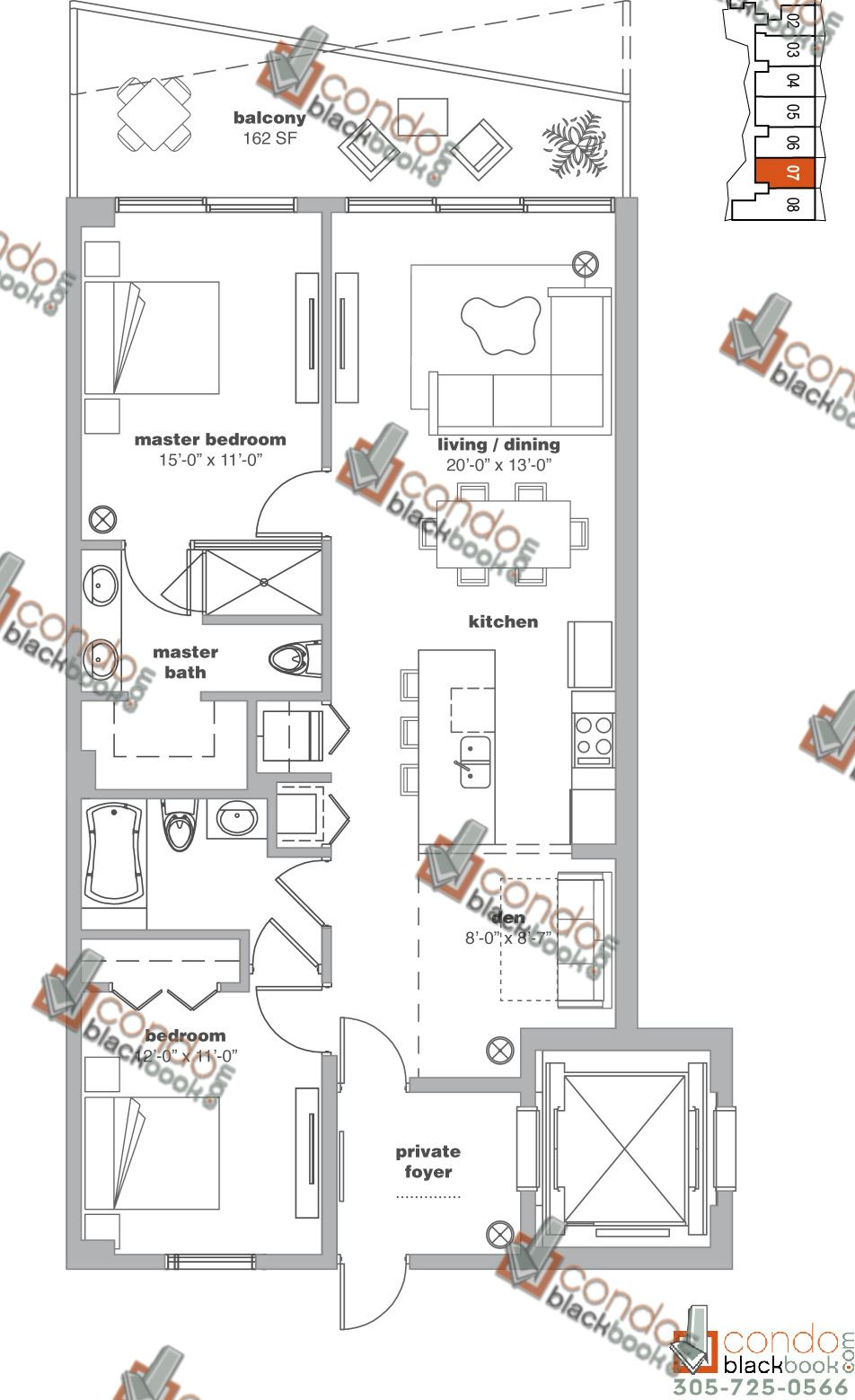 Floor plan for Icon Bay Edgewater Miami, model 07, line 07, 2/2+Den bedrooms, 1,343 sq ft