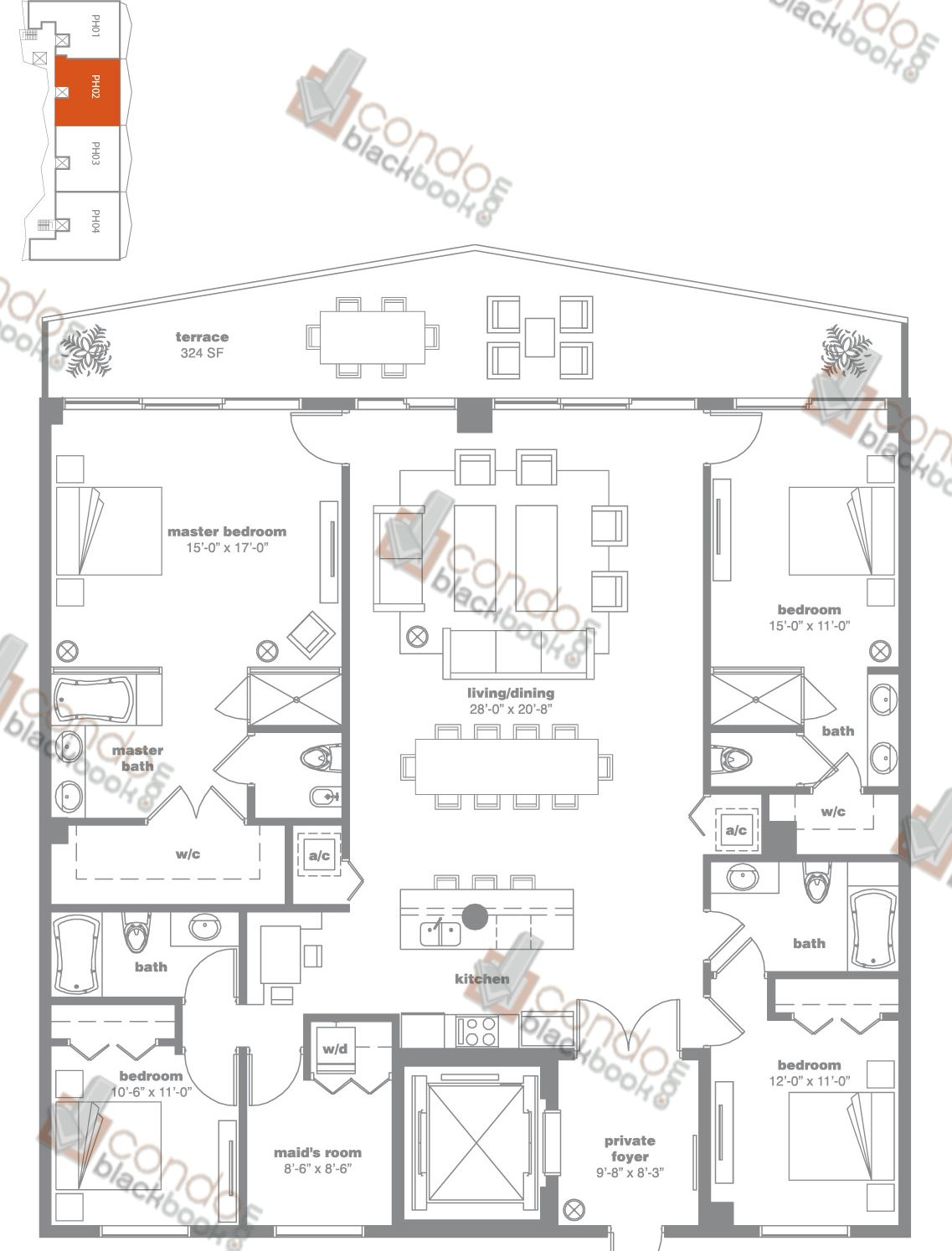 Floor plan for Icon Bay Edgewater Miami, model PH02, line 02, 4/4 + Maid's Room bedrooms, 2,670 sq ft