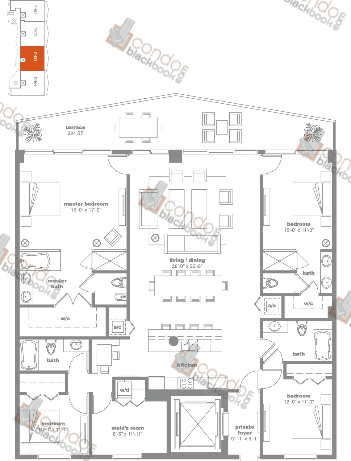 Floor plan for Icon Bay Edgewater Miami, model PH03, line 03, 4/4 + Maid's Room bedrooms, 2,670 sq ft