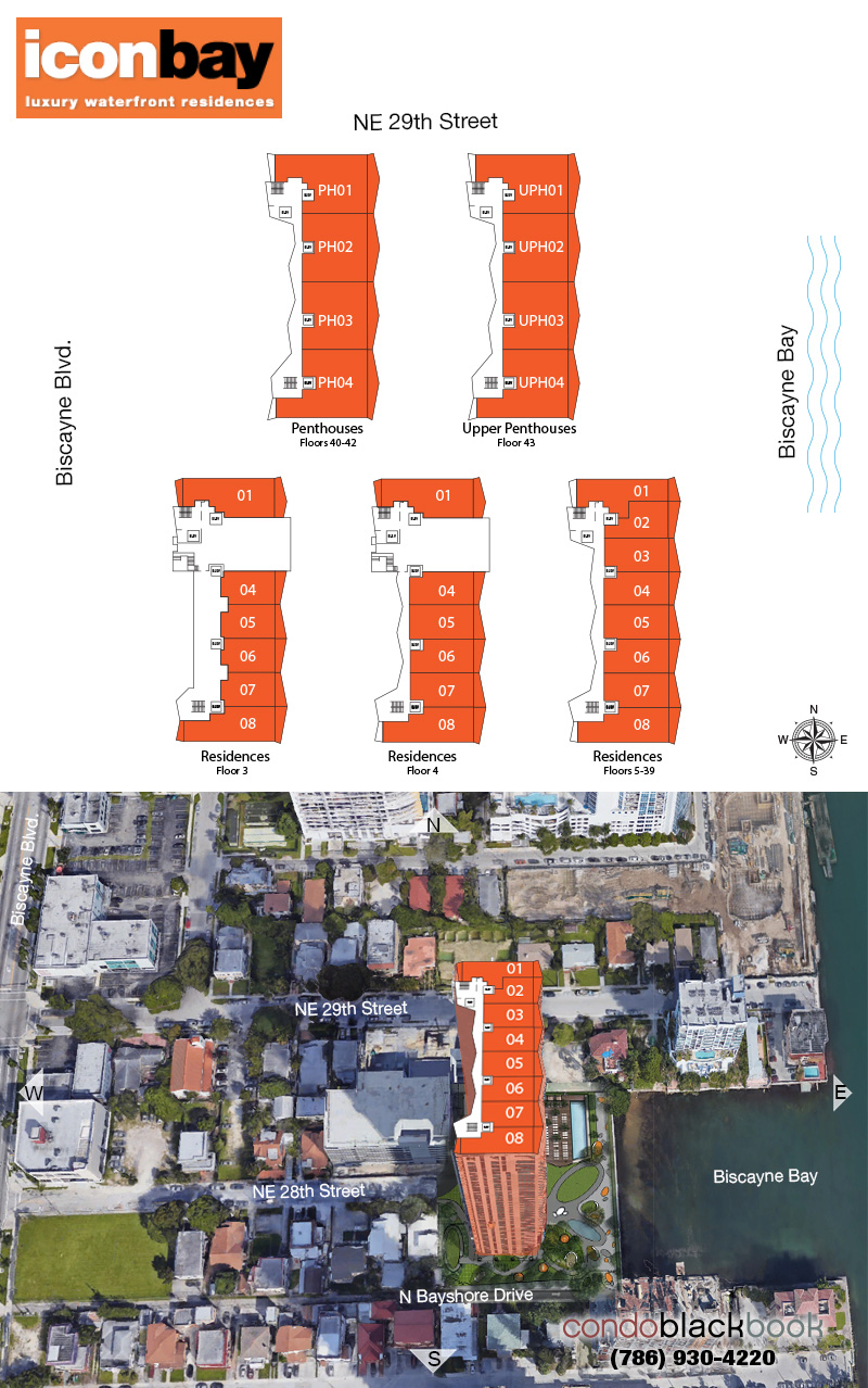 Icon Bay floorplan and site plan