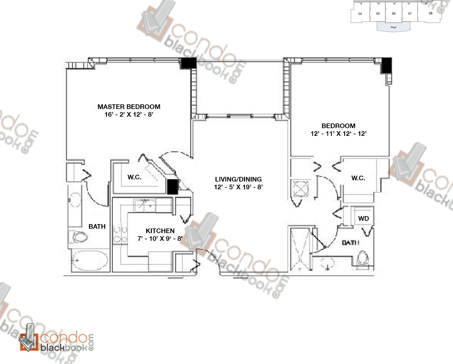 Floor plan for Moon Bay Edgewater Miami, model A, line 01, 2/2 bedrooms, 1065 sq ft