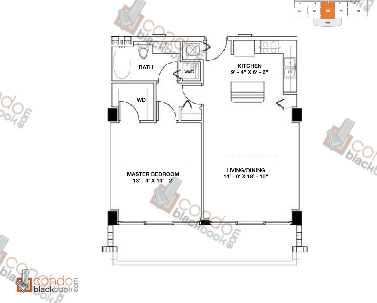 Floor plan for Moon Bay Edgewater Miami, model F, line 06, 1/1 bedrooms, 762 sq ft