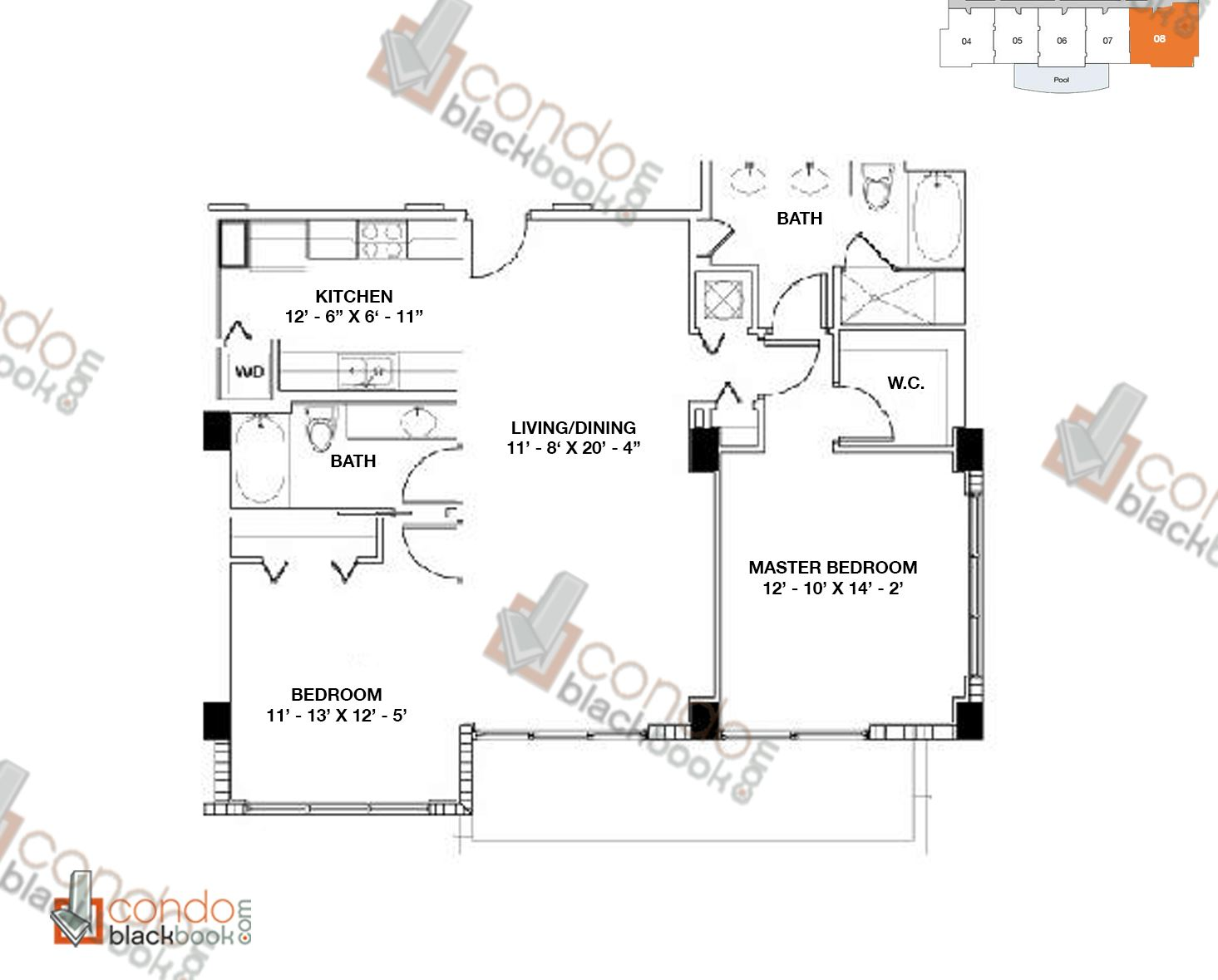 Floor plan for Moon Bay Edgewater Miami, model H, line 08, 2/2 bedrooms, 1159 sq ft