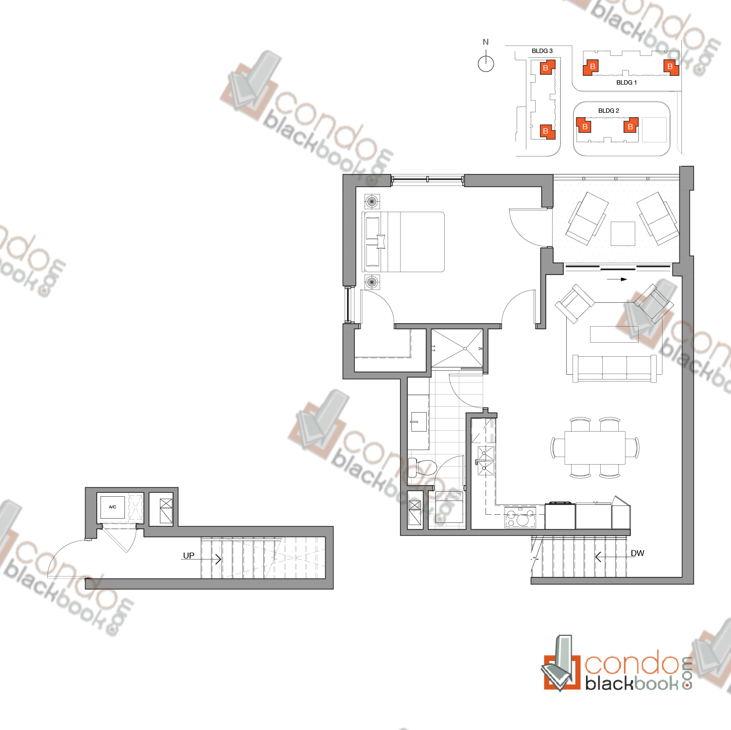 Floor plan for One Bay Edgewater Miami, model Residence B, line 102, 112, 202, 209, 302, 314, 1/1 bedrooms, 877 sq ft