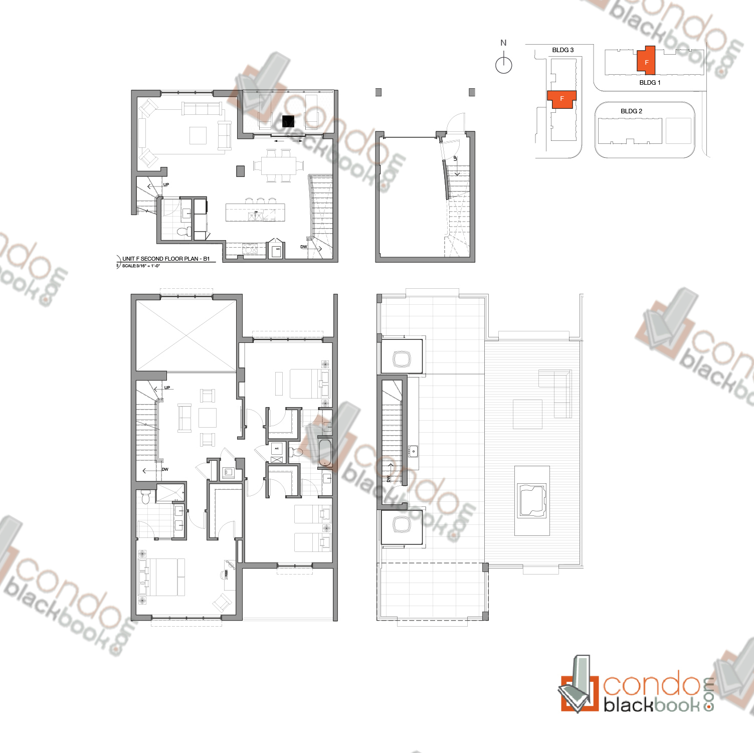 Floor plan for One Bay Edgewater Miami, model Residence F, line 107, 307, 3 / 3.5 + Family Room + Indoor garage bedrooms, 2,561 sq ft