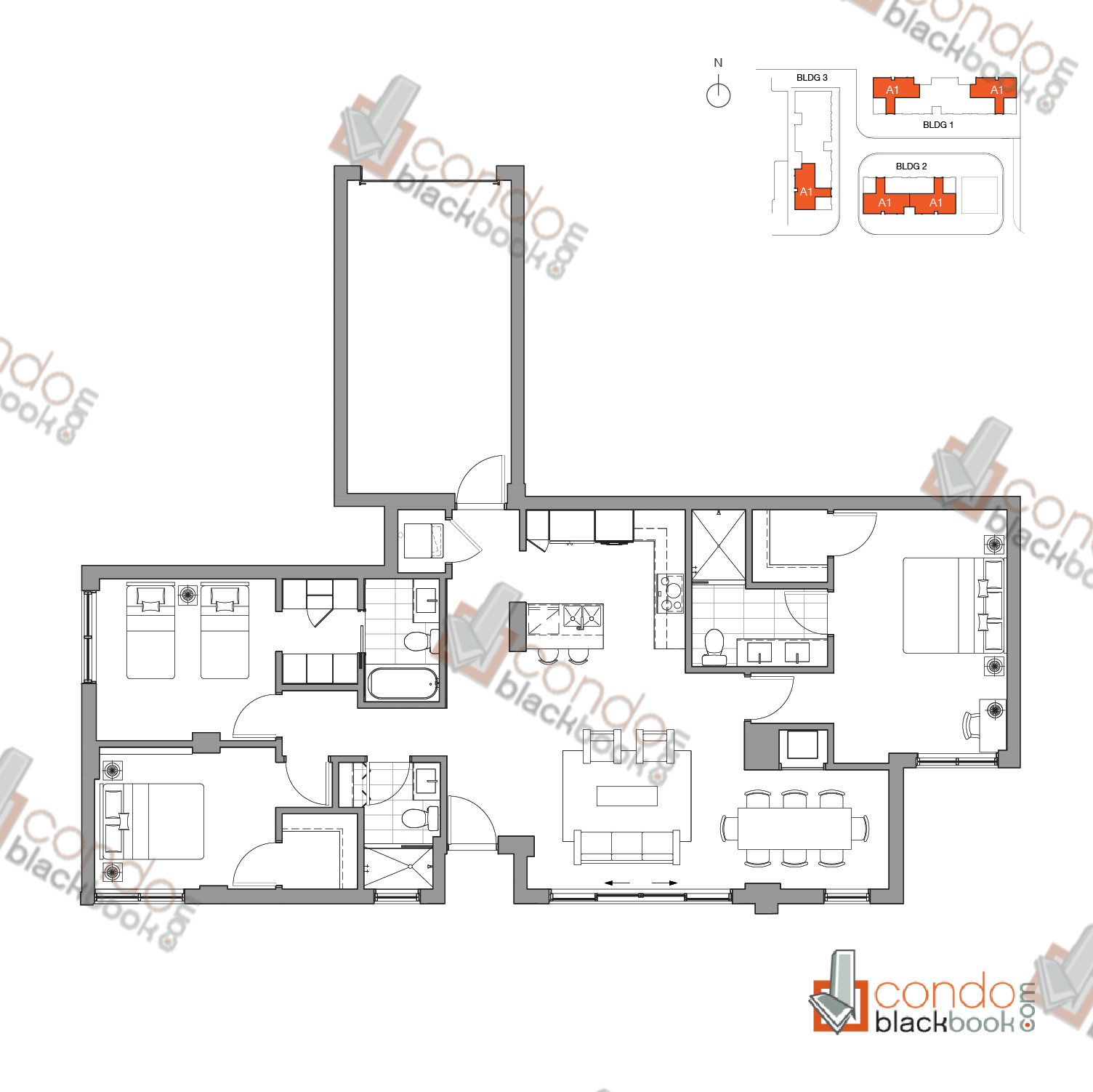Floor plan for One Bay Edgewater Miami, model Resindence A1, line 103, 203, 208, 303, 313, 3/3 + Indoor garage bedrooms, 1,475 sq ft