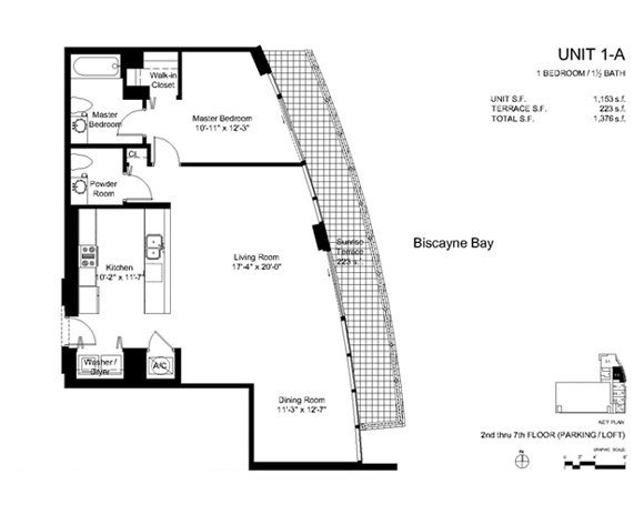 Floor plan for Onyx Edgewater Miami, model 1A, line 05, 1/1.5 bedrooms, 1153 sq ft