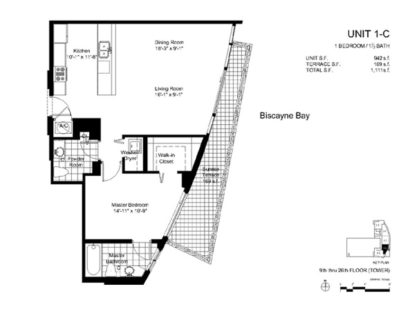 Floor plan for Onyx Edgewater Miami, model 1C, line 02, 1/1.5 bedrooms, 942 sq ft