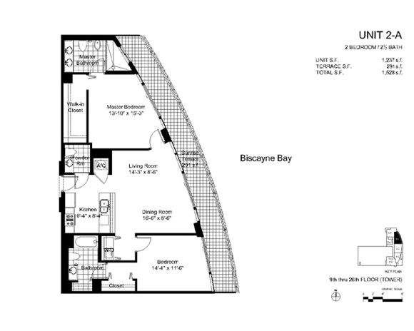 Floor plan for Onyx Edgewater Miami, model 2A, line 04, 2/2.5 bedrooms, 1237 sq ft
