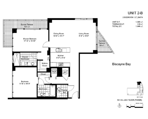 Floor plan for Onyx Edgewater Miami, model 2B, line 05, 2/2.5 bedrooms, 1388 sq ft
