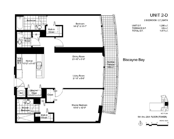 Floor plan for Onyx Edgewater Miami, model 2D, line 03, 2/2 bedrooms, 1286 sq ft