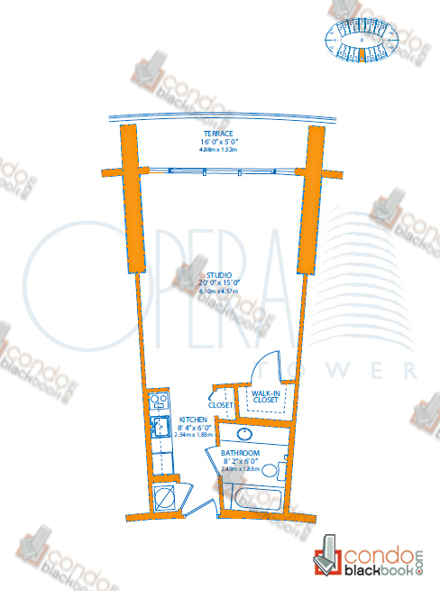 Floor plan for Opera Tower Edgewater Miami, model A1_Puccini, line 08, 0/1 bedrooms, 503 sq ft
